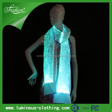 New luminous decorating shawl light up scarf led scarf fiber otpical scarf