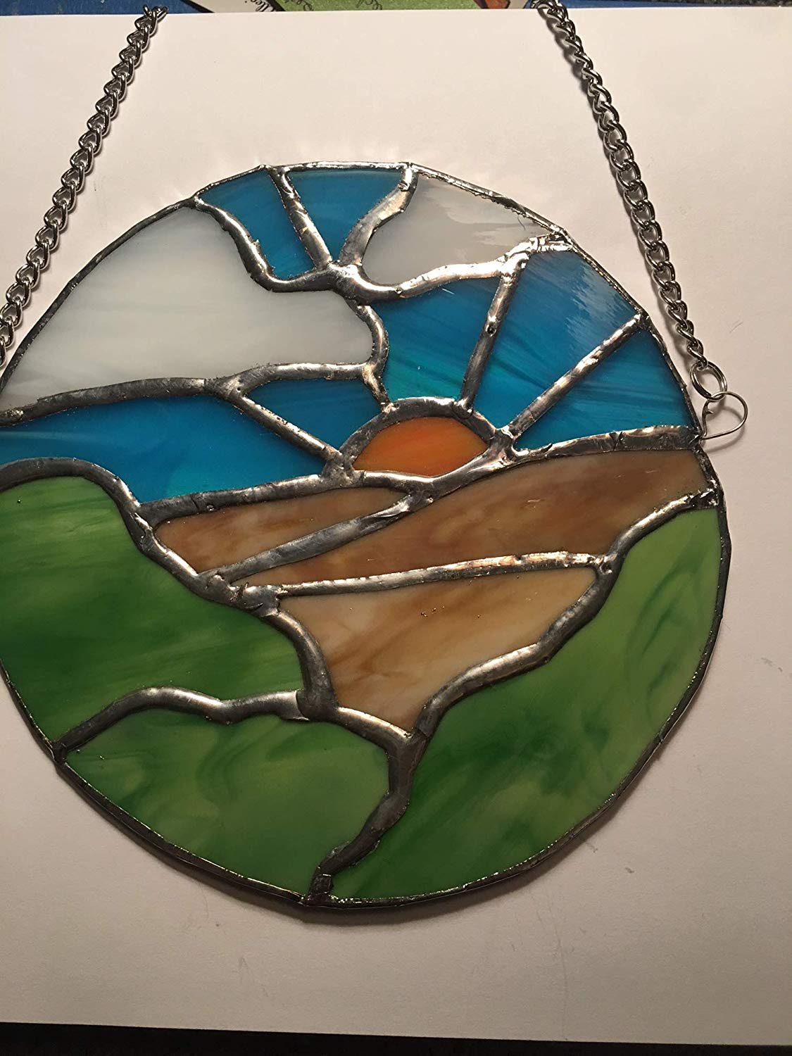 handmade stained glass landscape sun catcher