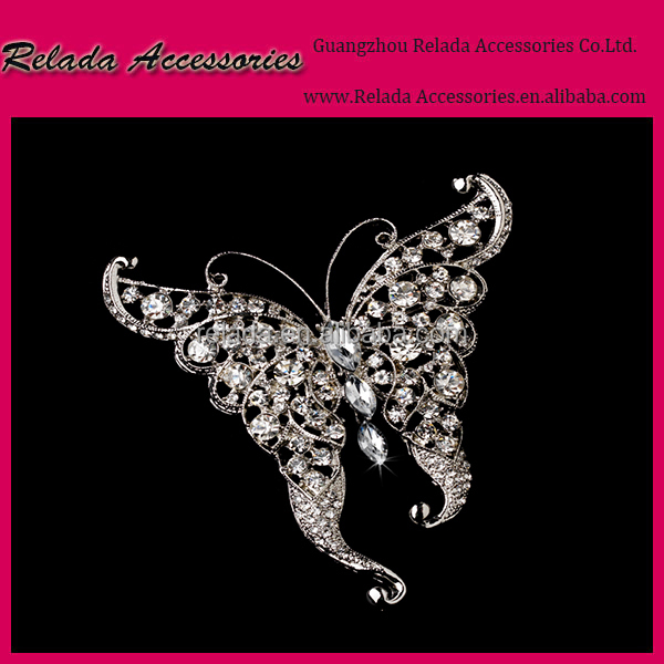 Factory Wholesale Wedding Jewelry Crystal Rhinestone Butterfly brooch pin in antique silver color RLD2349RB