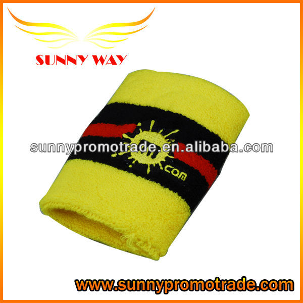 100% cotton embroidery Sports Sweatband, terry cotton wristband