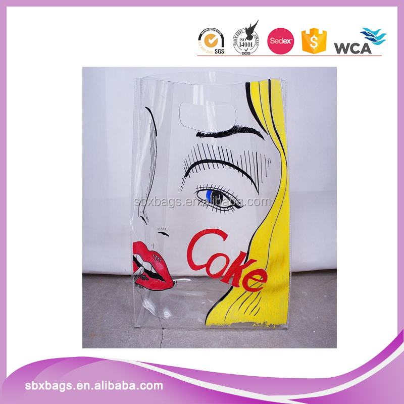 Custom graphic clear pvc tote hand bag with handle