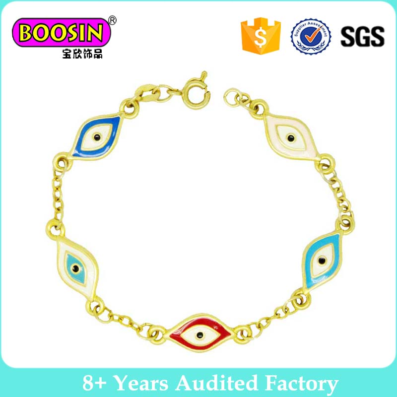 Lucky amulet talisman Turkish jewelry Gold Plated Blue Evil Eye Bracelet