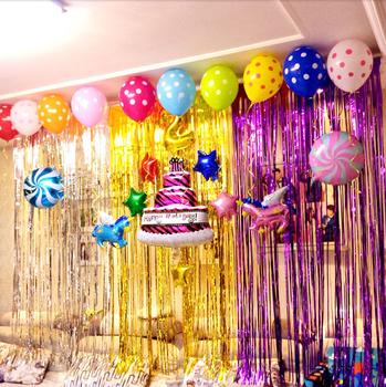 Garlands \u0026 Ballon Kit Baby Adult Birthday Decoration Background Wall Decor  With Custom Color Door Curtain , Buy Tassels Colorful Rain Foil