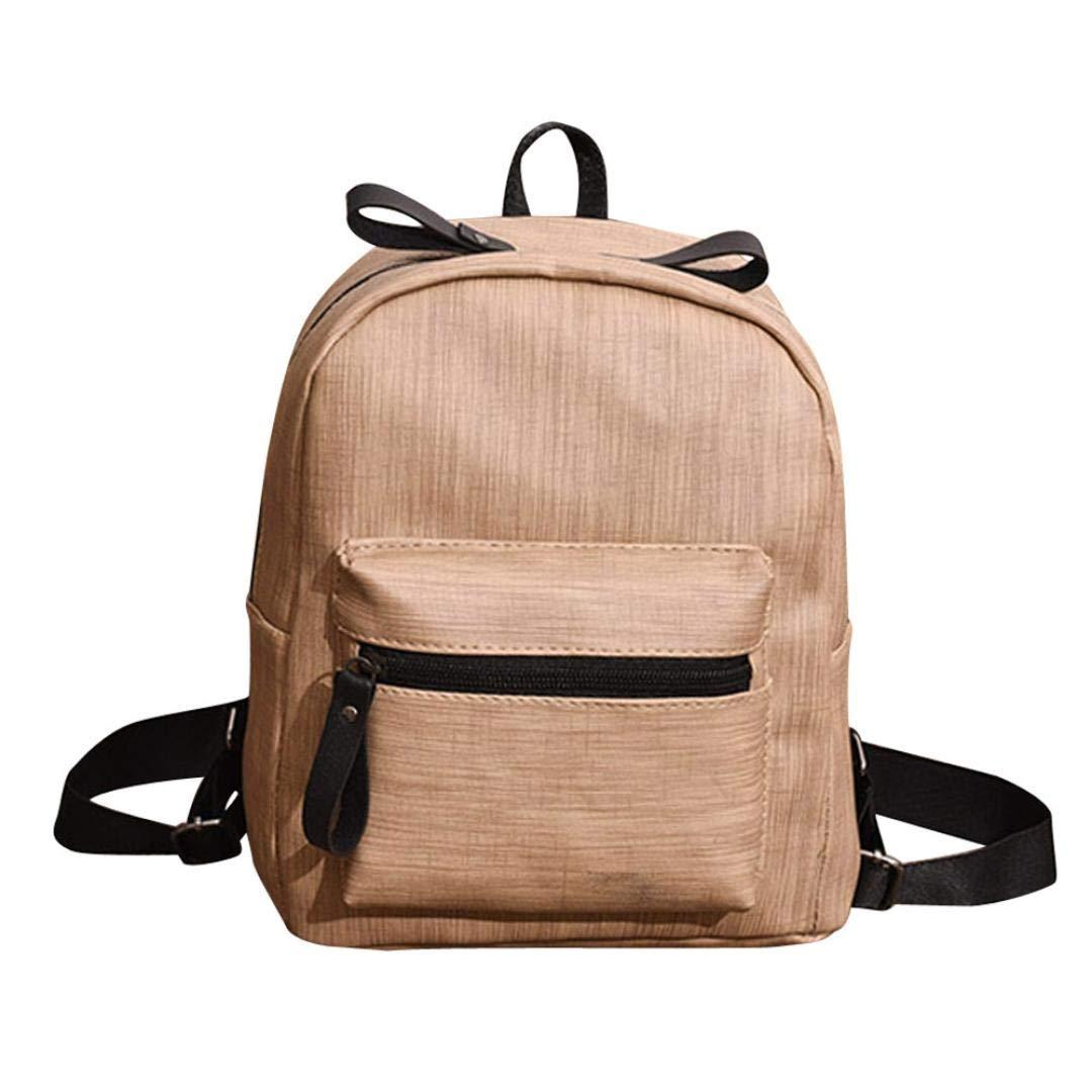 PU Leather Backpack School College Bookbag Travel Backpacks for Girls Student Children (Khaki)