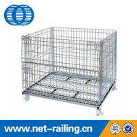 Q235 metal warehouse wire mesh fold storage box container K
