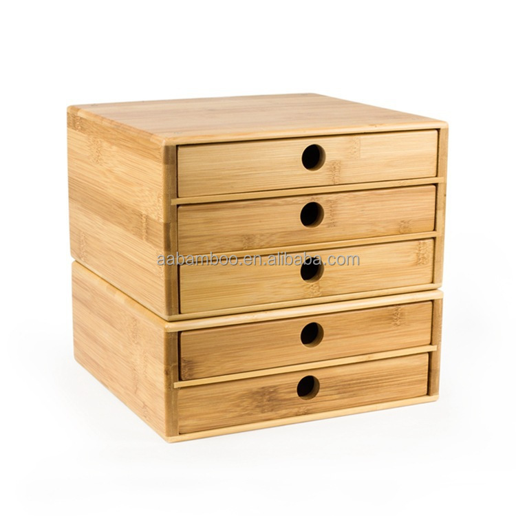 Bamboe hout office desktop bestand multi-layer lade opbergdoos