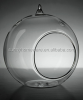 mouth blown clear hanging glass ball candle holder / glass christmas ball
