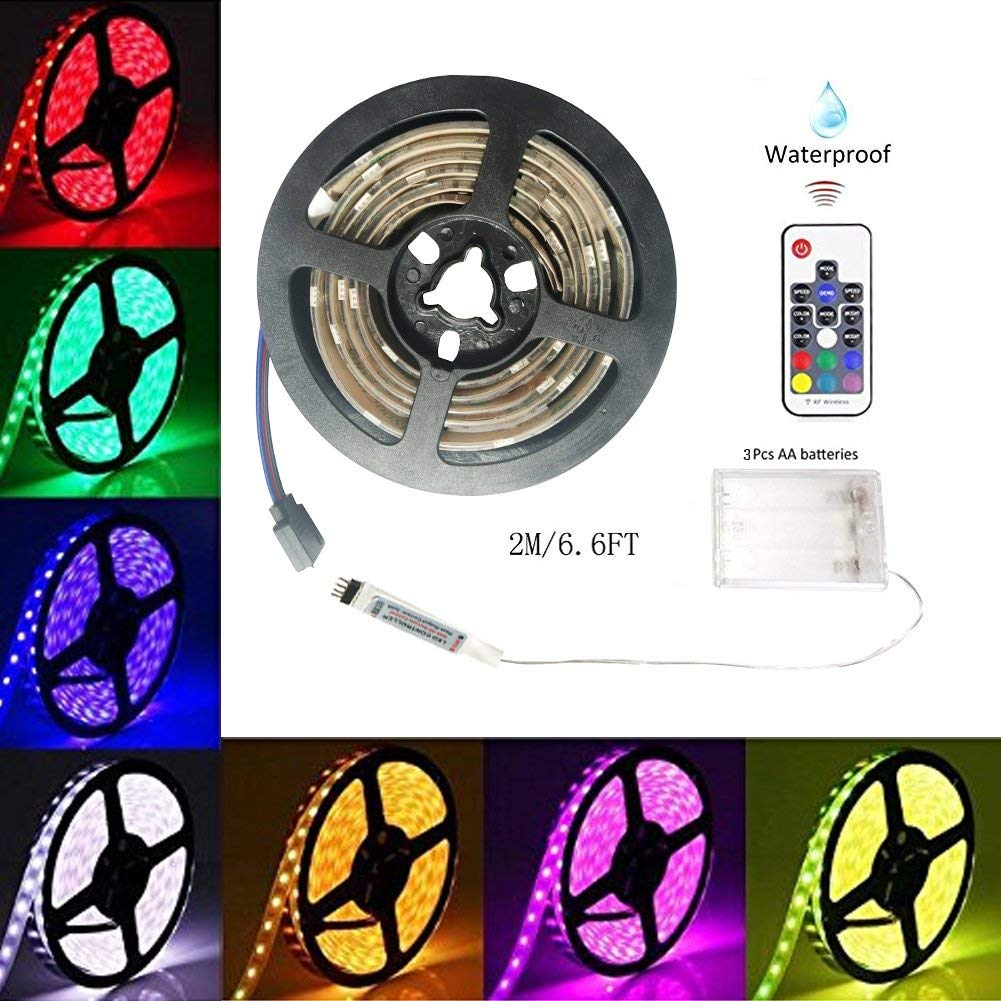 a846b2d52f90 Get Quotations · Battery-Powered Led Strip Lights, 60 LEDs 5V Waterproof  Flexible Color Changing RGB 5050