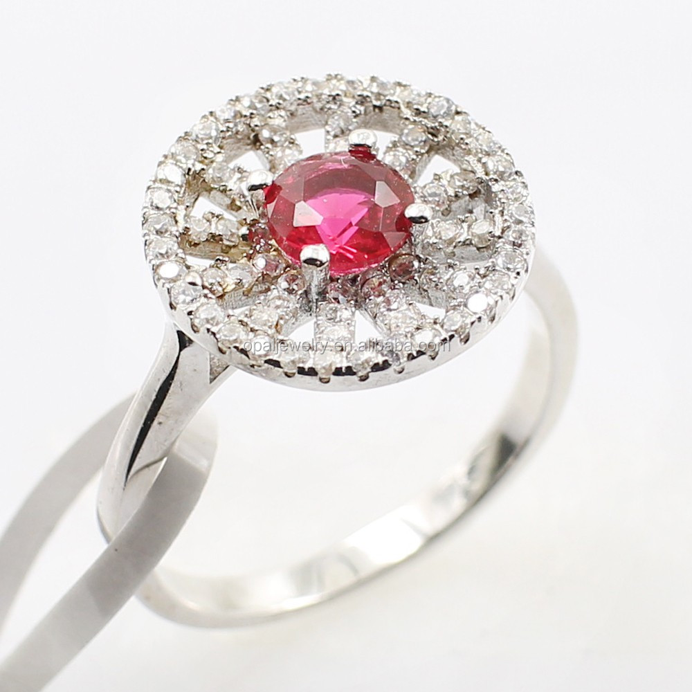 Newly Product 925 Sterling Silver Royal Magic Cherry Ruby Ring Women Acessory