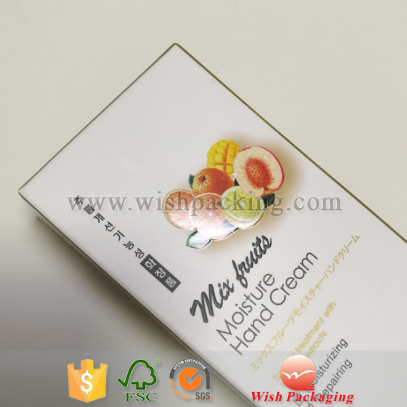 Embossed uv logo paper package carton box for Fruits ingredient cream