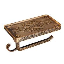Бумажный держатель для мобильного телефона для ванной комнаты с полкой старинный резной цинковый сплав вешалка для полотенец в туалет ванн...(Китай)