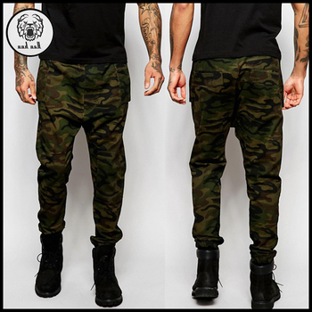 High quality camo twill skinny joggers men slim fitted chino cargo pants bce9917057b