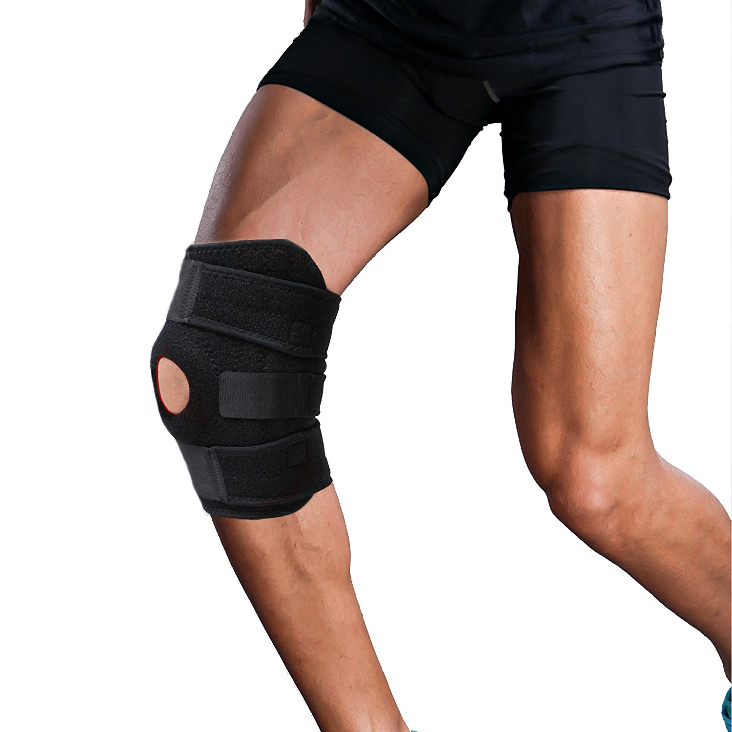 09c11f1b8a Get Quotations · Knee Brace Support Protector,Compressions Open-Patella  Stabilizer Breathable Knee Wraps Pads with Adjustable