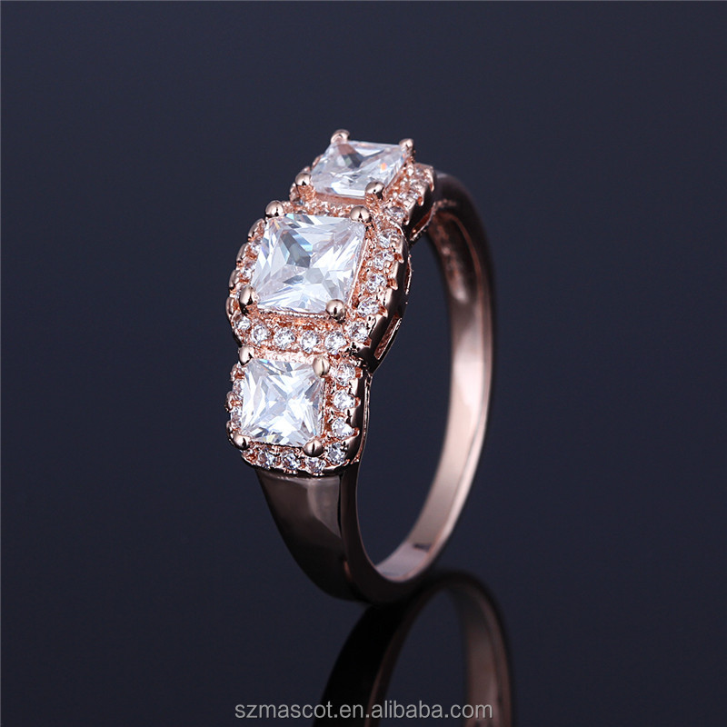 hot sell women jewerly customized logo rose gold color jewelry ring set