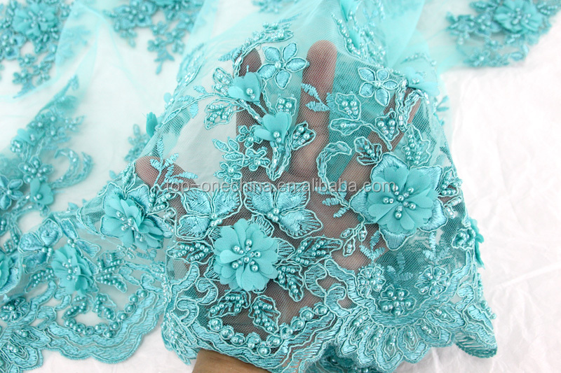 2017 3D flowers embroidery lace fabric3d ribbon embroidery net fabric with beads pink net lace material