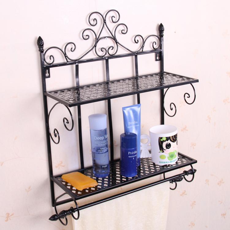 Wrought Iron Bathroom Wall Towel Shelf: Bathroom Household Items Bathroom Storage Rack Wrought