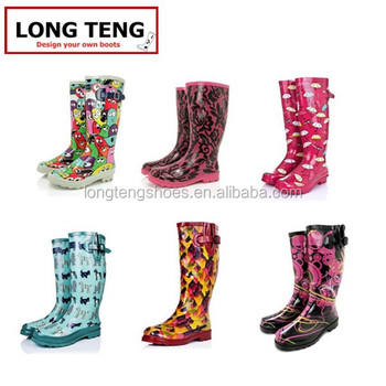 2015 New Style Women Rain Boots With Side Buckle Wellies ...