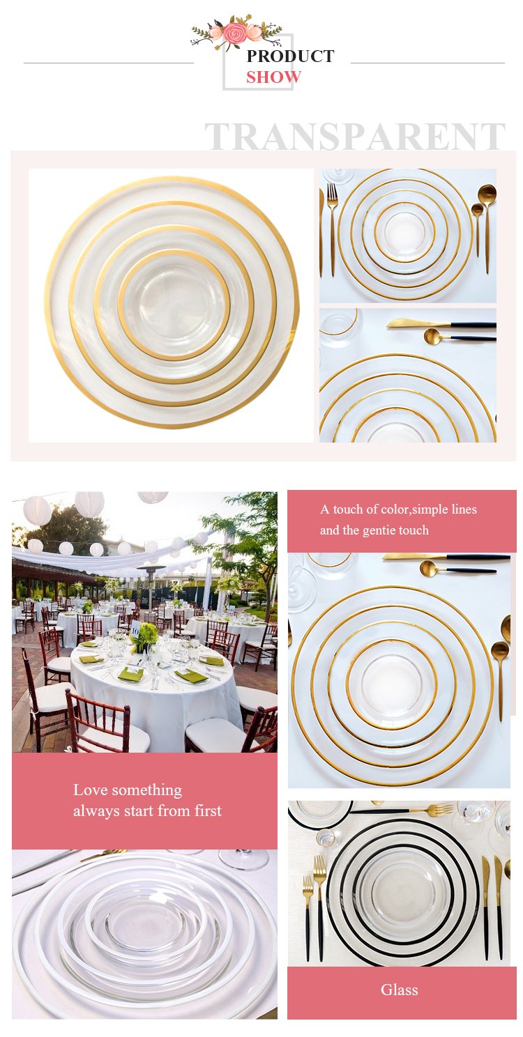 Luxury gold glass dinner set for wedding decoration