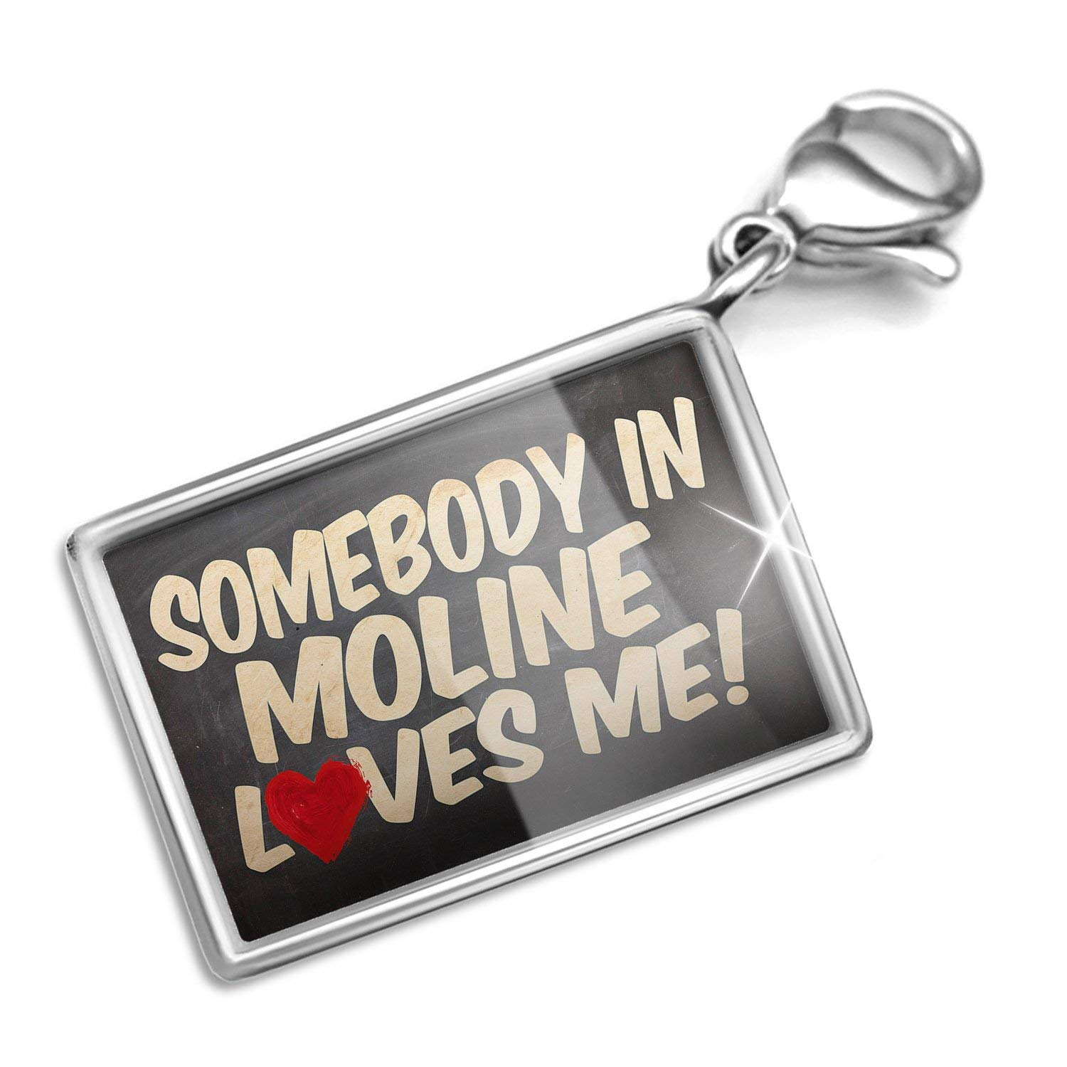 NEONBLOND Clip on Charm & Bracelet Set Somebody in Moline Loves me, Illinois Lobster Clasp