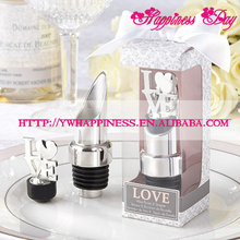 Silver and Chrome Wedding of LOVE Pourer and Bottle Wine Stopper Wedding Favors and Gifts