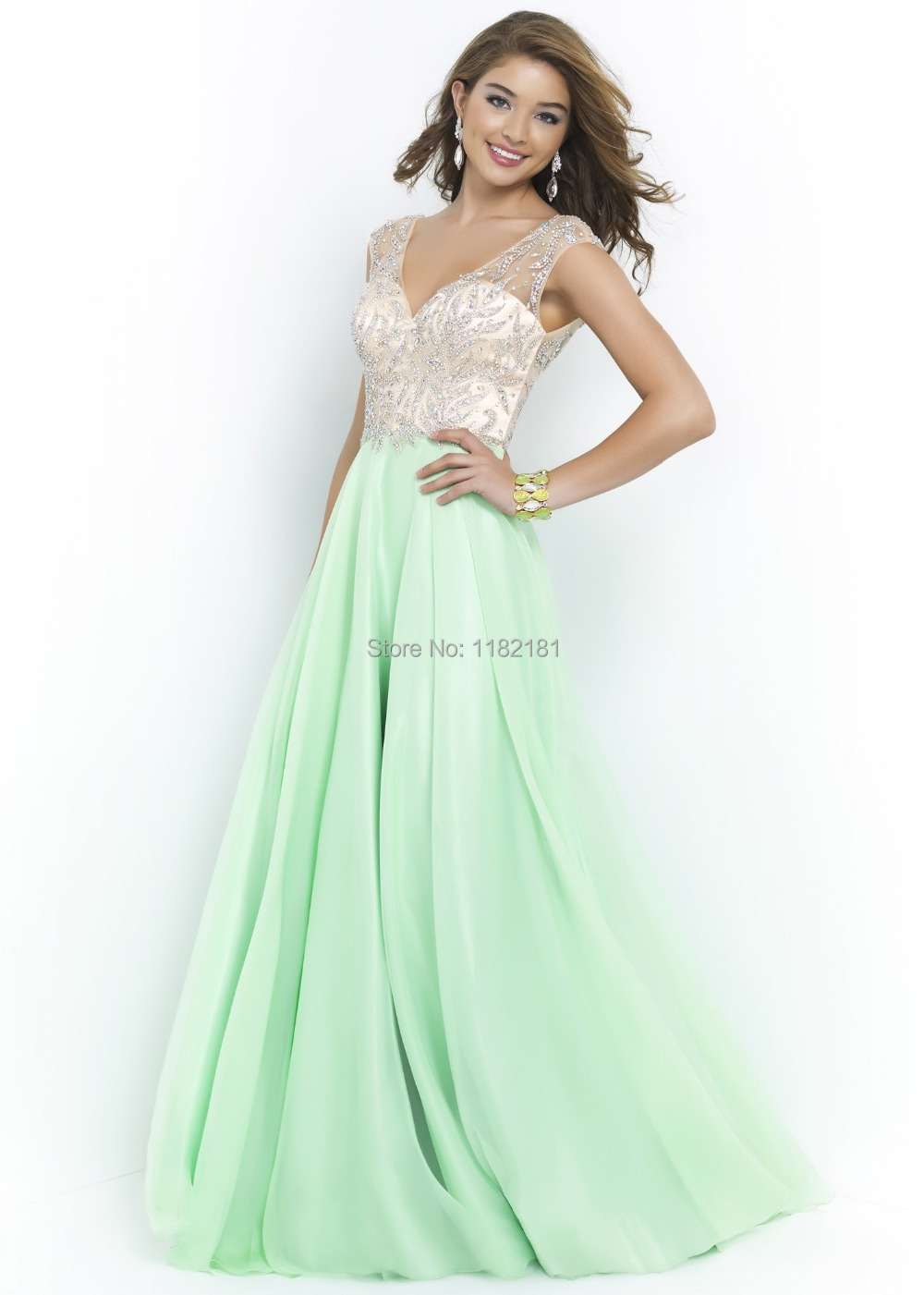Sequins Beaded V-neck Cap Sleeves Prom Dress Mint Long Evening Gowns Backless 2015 Custom Made