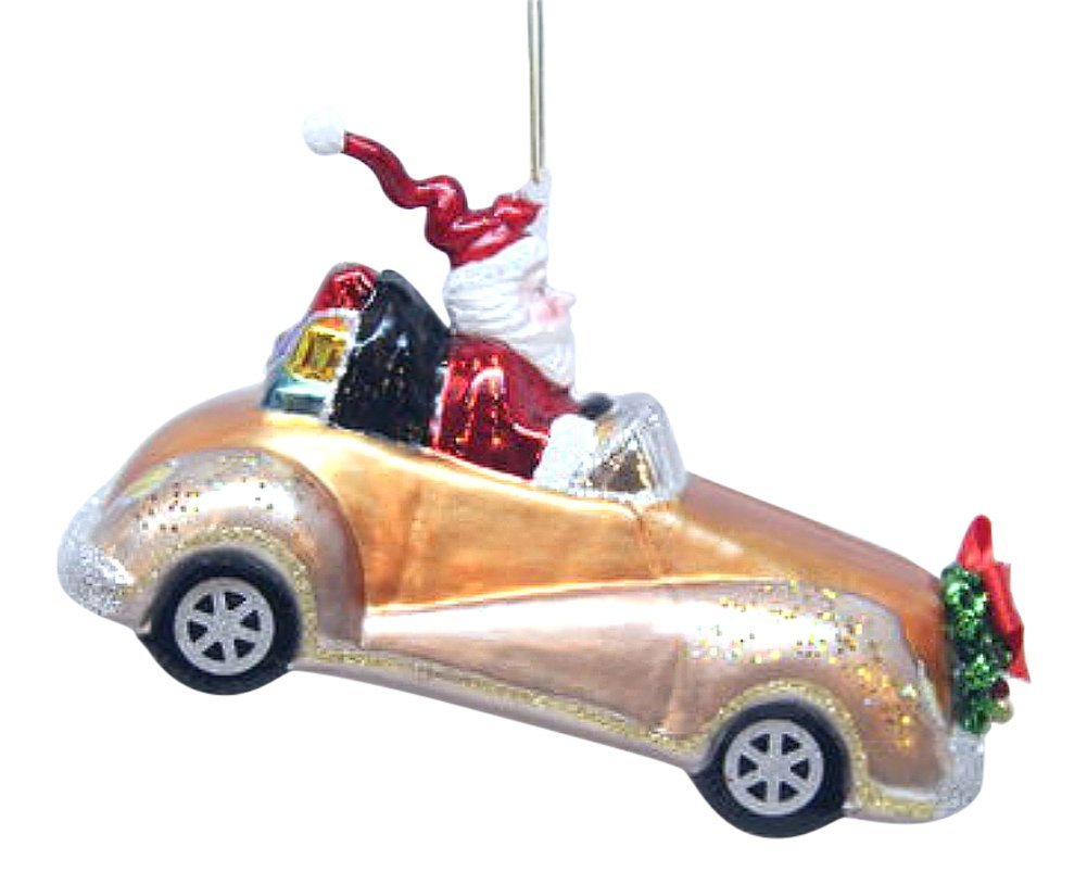 December Diamonds Blown Glass Ornament Santa on Car