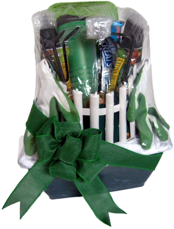 Superior Gift Basket Co. Quality Gardening Tool Set Gift Gloves Kneeling Pad Planter Transplanter Trowel Weeder Cultivator,Wooden With Padded Comfort Grip Handles, Plus Rice Crispy Treat Granola Bars