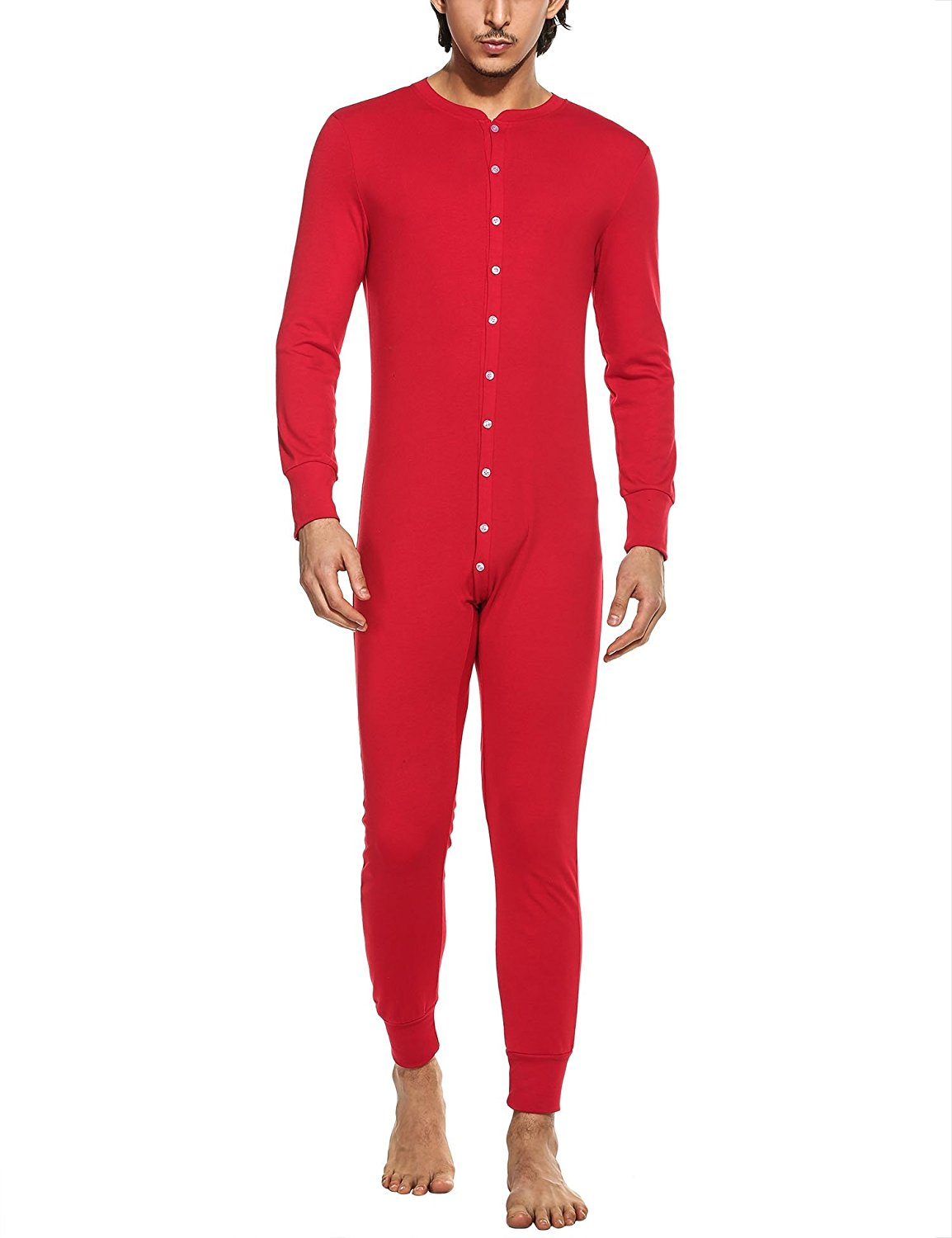 2ee031de3 Get Quotations · HOTOUCH Mens Thermal Union Suit Casual Round Neck Long  Sleeve Onesie Pajamas Solid Button Down Jumpsuit