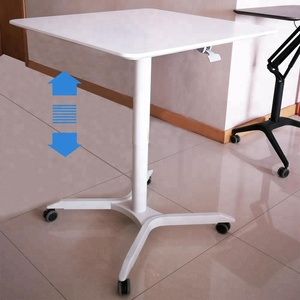 MDF table top Pneumatic adjustable white hydraulic rolling standing desk