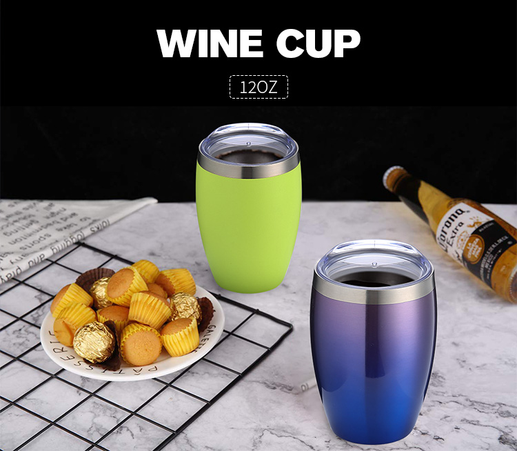 2020 Stainless Steel 12 oz Double Walled vacuum Insulated Unbreakable wine Tumbler with Lid Stemless Wine Tumbler