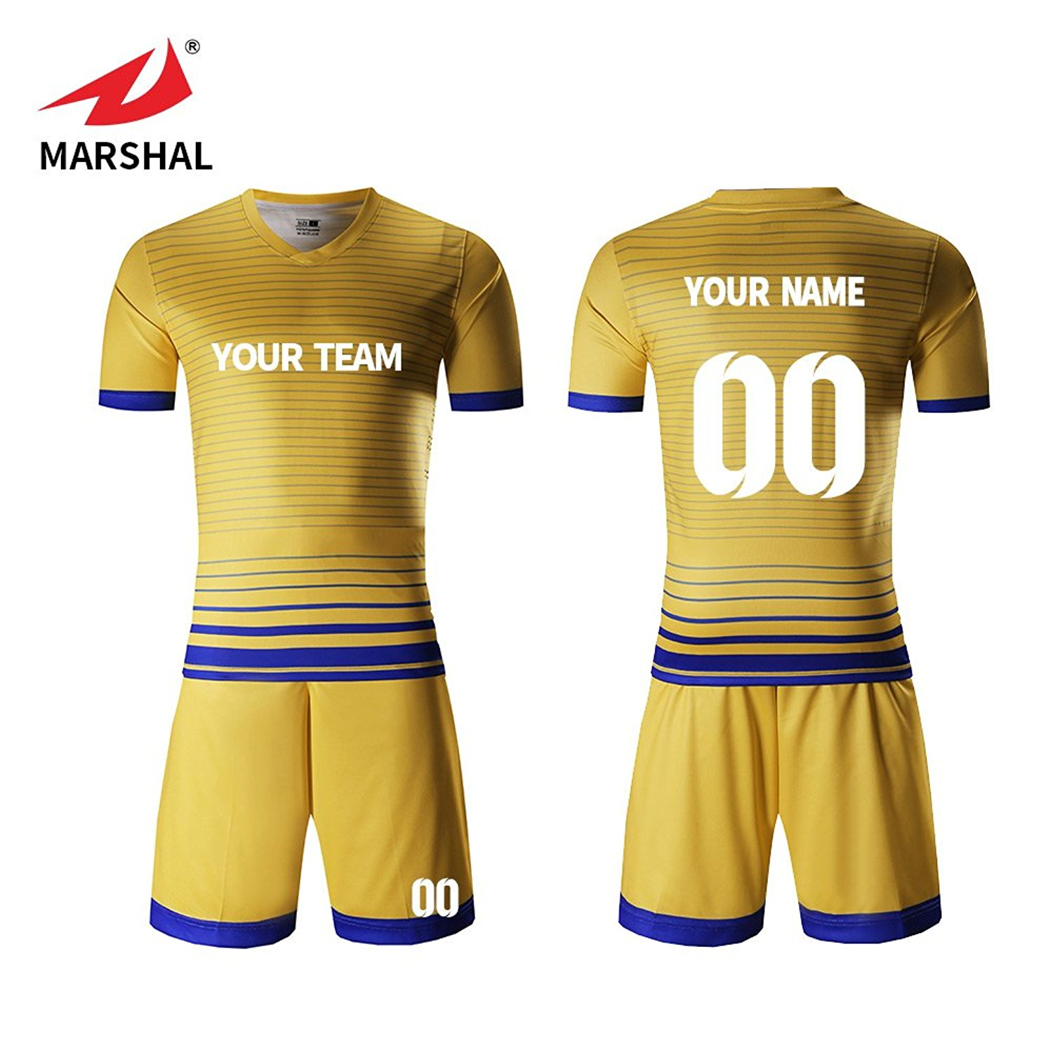 86c77daf4b1 Get Quotations · Marshal Jersey Personalized Soccer Jerseys Yellow Jersey  Quick Dry Sportwear Custom Soccer Jersey Set Custom Your