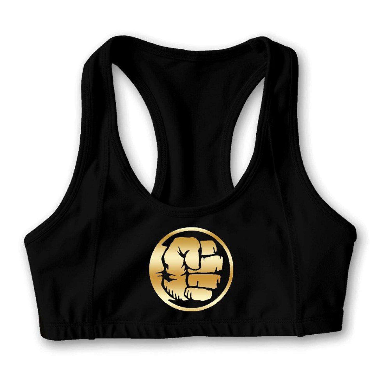 f3b3dde8a0b90 Get Quotations · Avengers Hulk Gold Logo Women s Oxjwn Yoga Sports Bra
