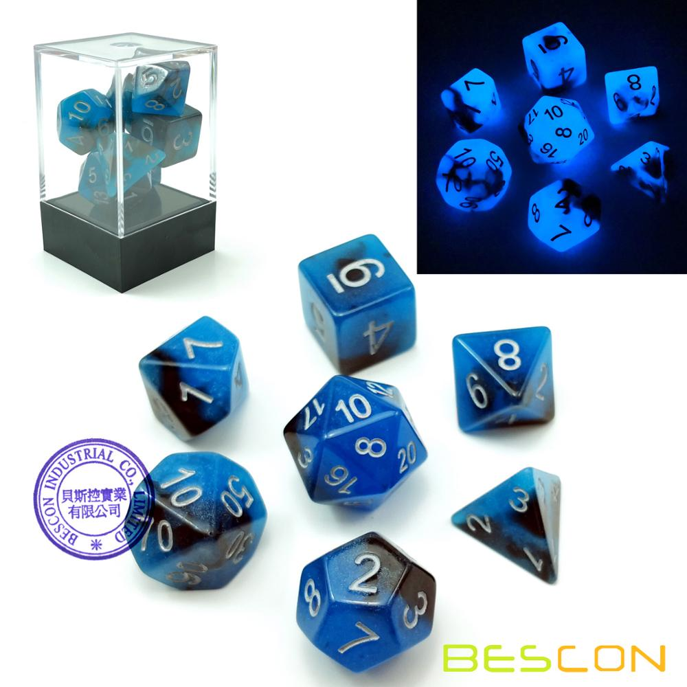Bescon Two-Tone Glow-in-the-Dark Polyhedral Dice Set BLUE DAWN, Luminous RPG Dice Set d4 d6 d8 d10 d12 d20 d% Brick Box Pack фото