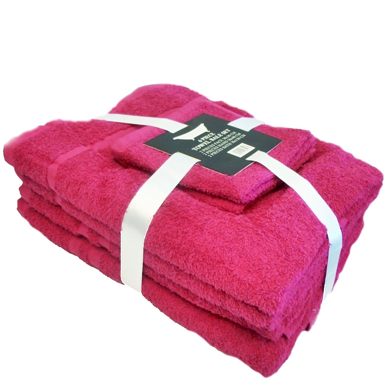 Towel Bale 6 piece (2 face, 2 hand, 2 bath) 450gsm 100% Cotton - Hot Pink )