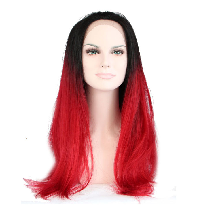 Fashion Design Ombre Black and Red Color Cosplay Synthetic Hair Lace Front Wigs for Women