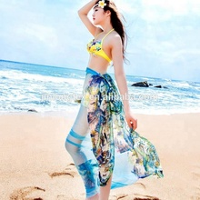 wholesale ladies summer pashmina long women printed cashmere beach silk scarf