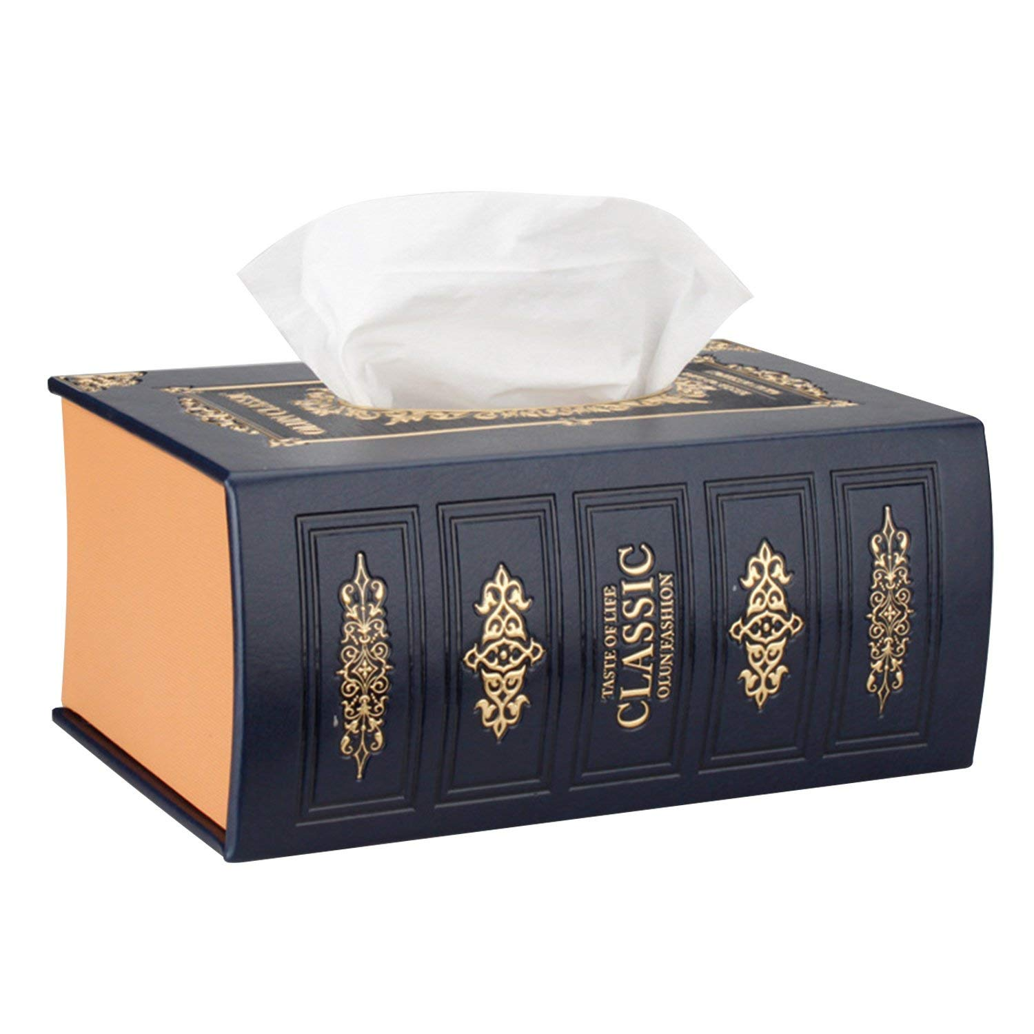 """SAVORLIVING Napkin Holder Book Shape Tissue Box PU Leather Tissue Holder Multifunctional Storage Box Antique Tissue Case for Home, Office,Coffee Shop and Car Decoration, 8.2"""" 5.7"""" (Navy Blue)"""