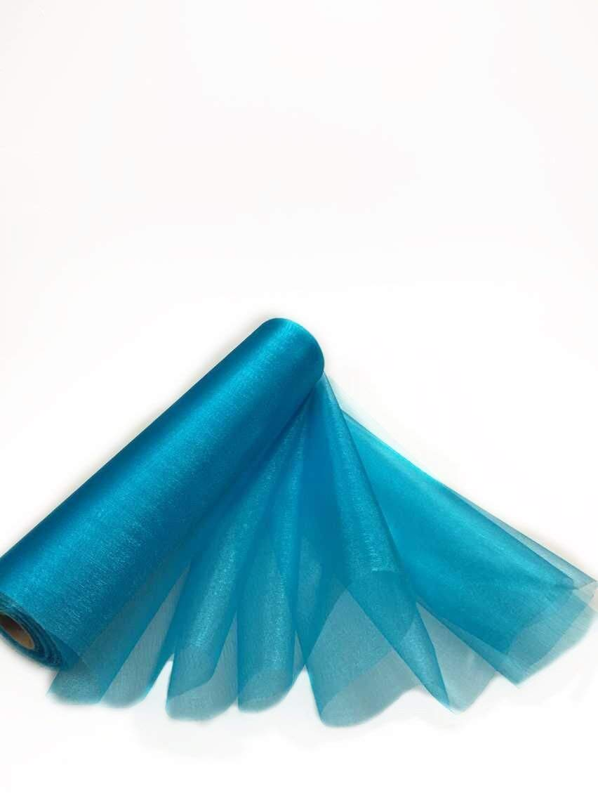 Trimming Shop 29cm X 25m Roll Of Organza Sheer Fabric Elegant Decorative Cloth For Wedding Chair Bows Table Runners Party Favours Turquoise Blue