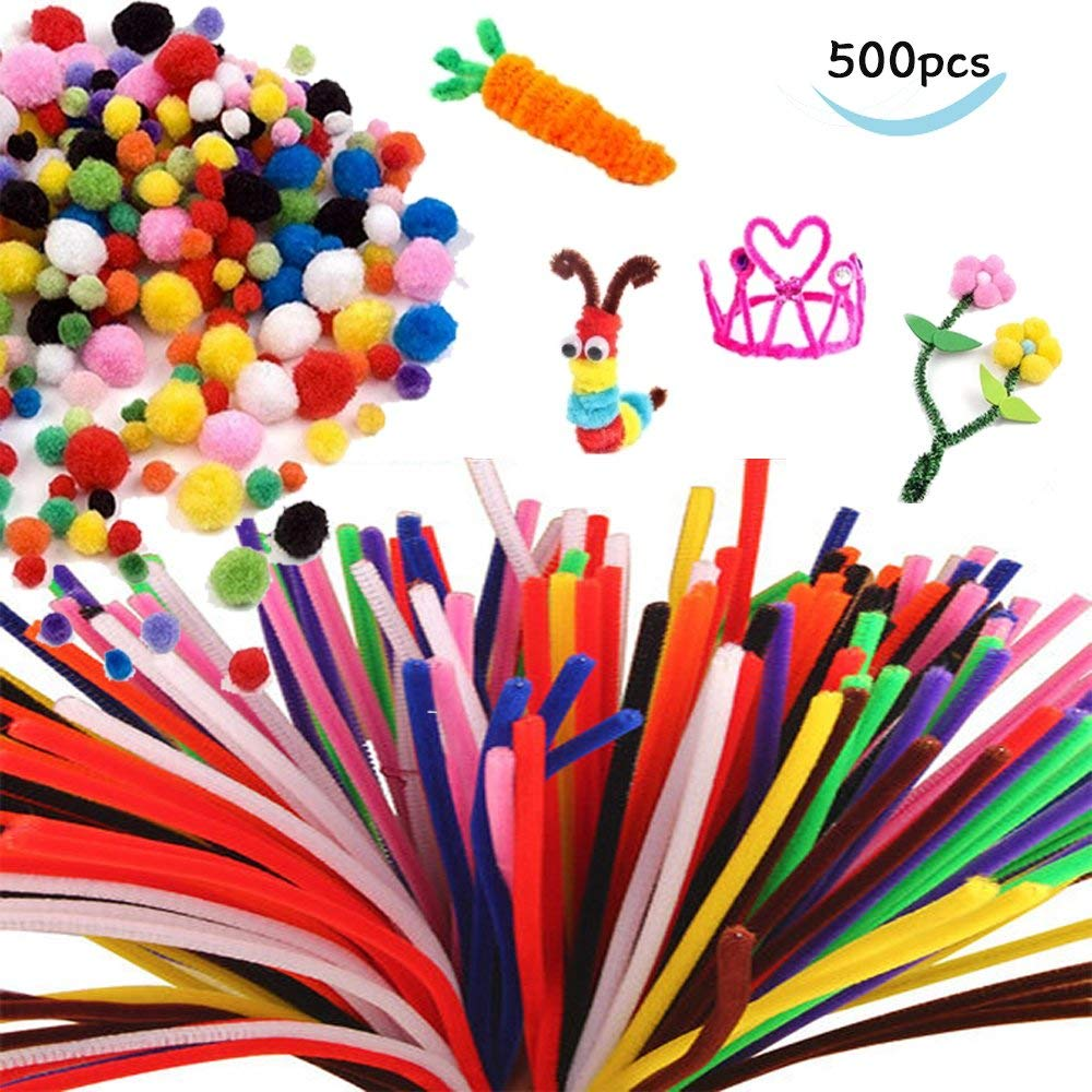 500 Pieces Pipe Cleaners Set,Craft Supplies Set Includes 300pcs Chenille Stems and 200pcs Multi Sized Pompoms for DIY Art Supplies