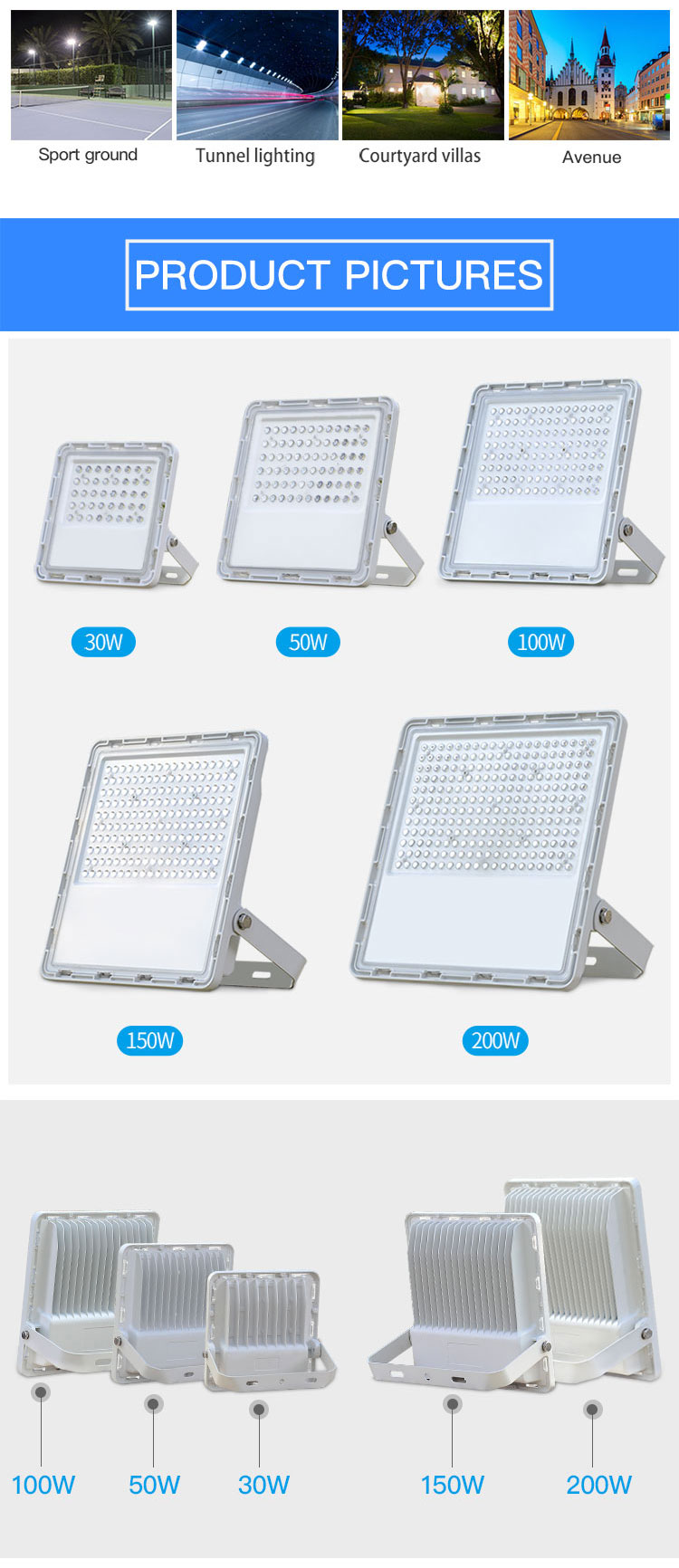 High transmittance ip67 outdoor waterproof 30 50 100 150 200 watt led flood lamp price