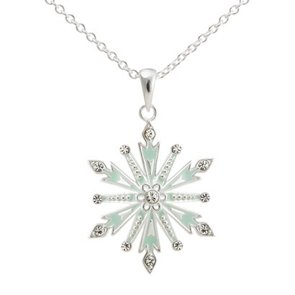 "Disney® Frozen Silver- Plated Snowflake Pendant with Clear Crystal Accent- Multicolor (18""), Necklace"