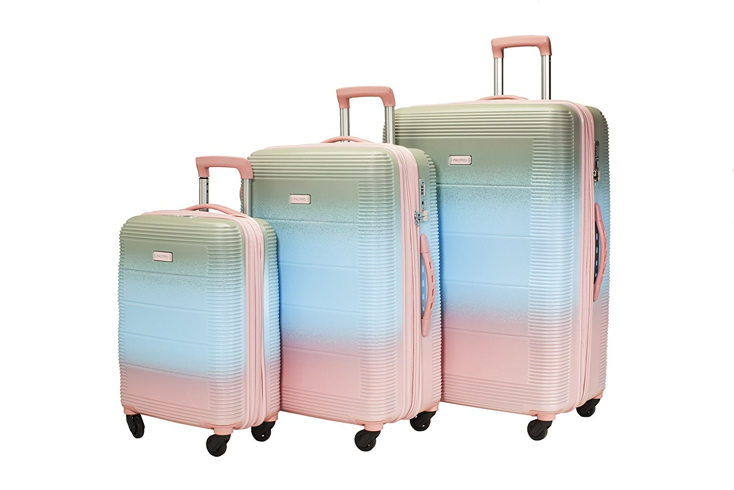 6ea4d4b0e Get Quotations · Diophy Pacpro Luggage Sets Glossy Suitcase Sets Hardside  Spinner Trolley Expandable (19'',