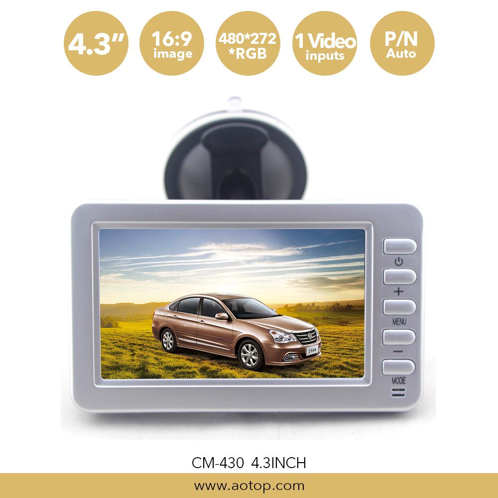 AOTOP 480*272 Resolution 4.3 인치 흡입 컵 Bracket Monitor 와 백업 license 판 Cameras