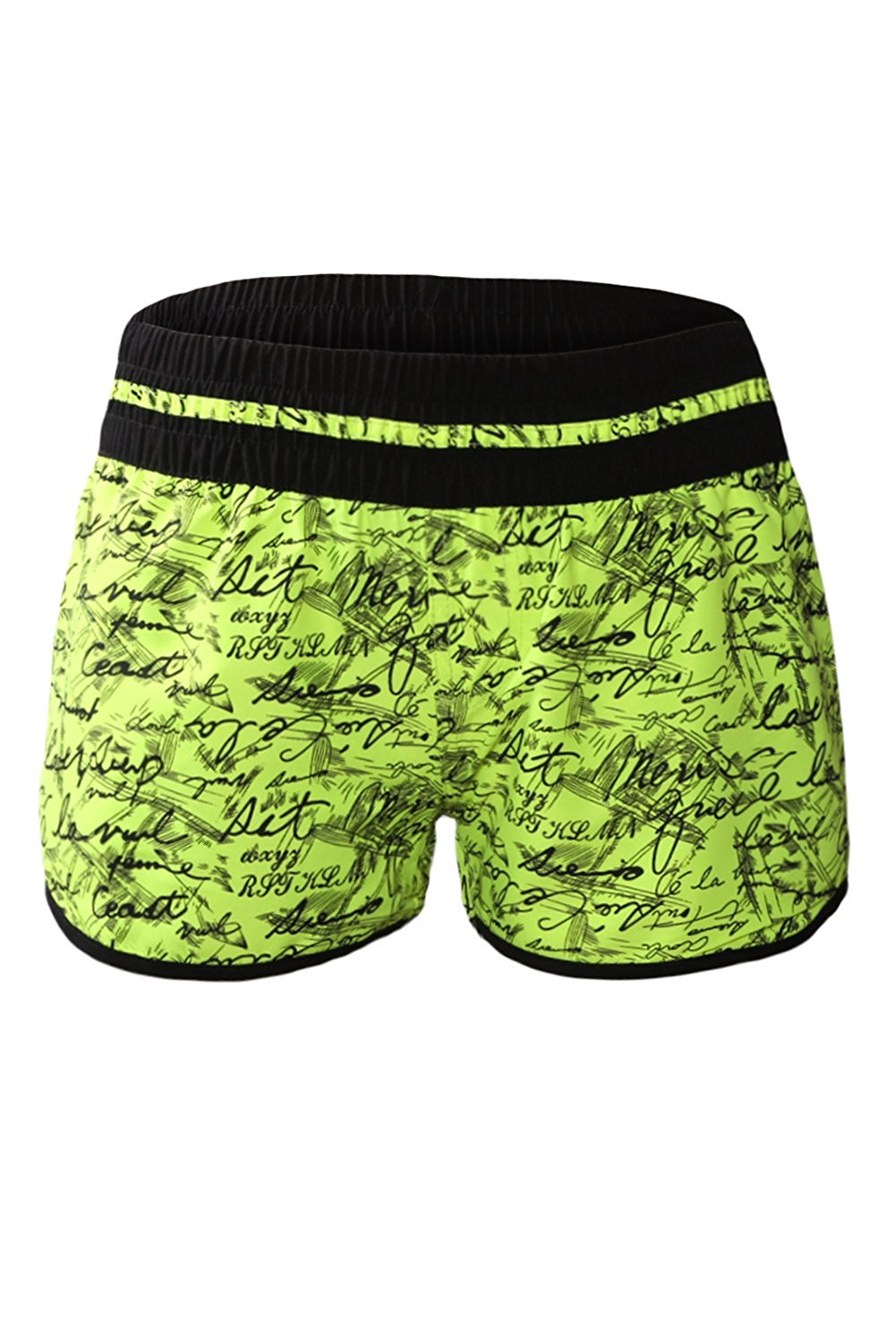 09b309ba91 Get Quotations · Prime Leader Yellow Individual Handwriting Print Swim  Shorts For Women