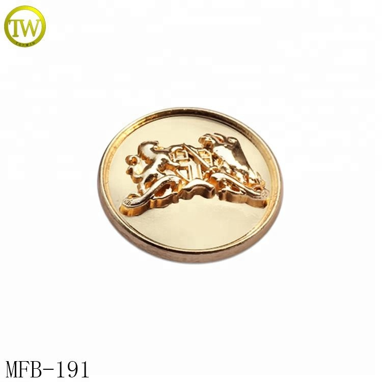 MFB191 Gold plating fashion western metal buttons embossed logo metal buttons