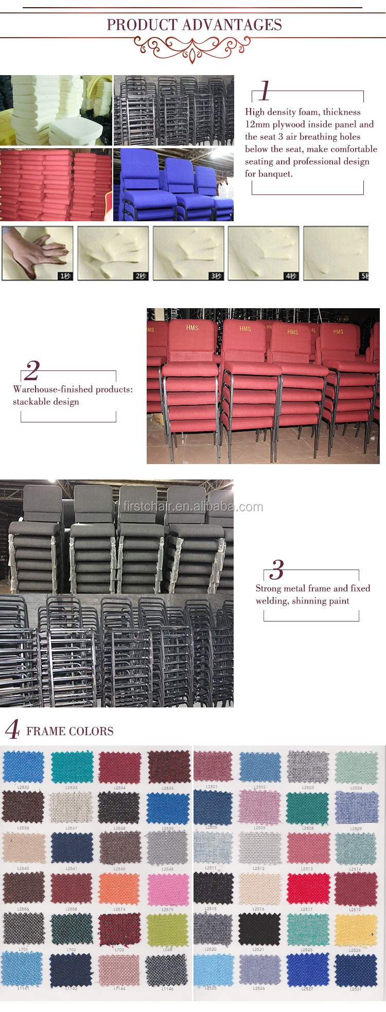 Wholesale Strong Cheap Interlocking Wedding Church Chair