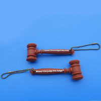 custom design whole 3D gavel rubber keychain full 3D hammer soft PVC silicone keyring key chains promotion