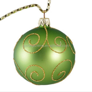 decorating christmas green glass ball,100mm christmas glass ball ,hand paint glass christmas balls