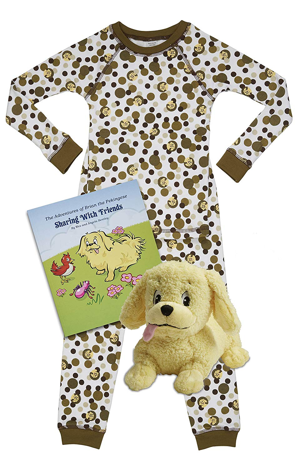 Brian the Pekingese Boys & Girls Cotton Pajamas, Plush Toy & Children's Book Bedtime Gift Set