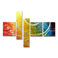 Modern abstract colorful metal wall art for living room